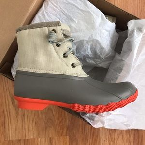 Sperry Saltwater Pop Outsole Duck Boots Dark Taupe